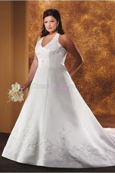 7a2d5277adeb White Plus Size Halter Long Floor-length Church Wedding Dresses With  Embroidery WD236C Νυφικό