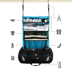 A weekend bag with shelves. A great way to keep your stuff organized while traveling.