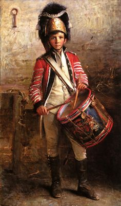 A Drummer Boy of the Royal Scots Dragoons (George William Joy). Joy served in the Artists Rifles from and shot for them at Wimbledon and Bisley. American Revolutionary War, American War, British Soldier, British Army, Military Art, Military History, Drummer Boy, Napoleonic Wars, Art Music