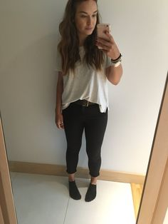 Levi's oversized tee, Black Topshop skinnies, Topman leather belt and Michael Kors watch