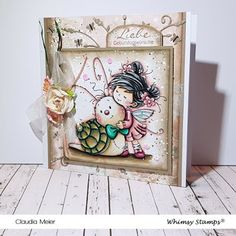 Claudia's Karteria: Love You Slow much in Shabby Chic Memories Box, Prismacolor, Whimsy Stamps, I Card, Shabby Chic, September, Love You, Frame, Cute