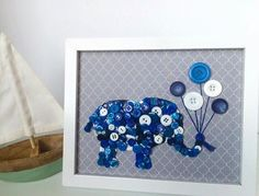 "Framed Kids Button Art Elephant with Balloons on Canvas 8""x10"" by ChampsyCreative on Etsy https://www.etsy.com/listing/245313919/framed-kids-button-art-elephant-with"