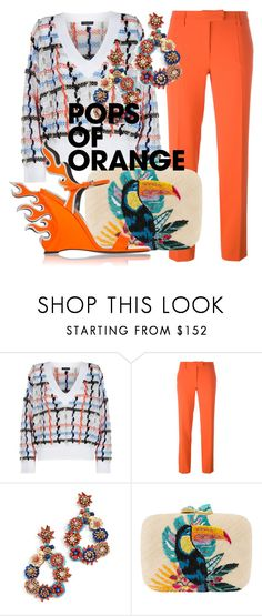 """Orange Outfit"" by subvilli on Polyvore featuring rag & bone, Boutique Moschino, Deepa Gurnani, Aranáz, orangeoutfit and popsoforange"