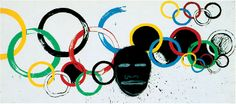 JEAN-MICHEL BASQUIAT & ANDY WARHOL  Olympic Rings, 1985  Acrylic and silkscreen on canvas  81 1/8 x 183 1/2 inches  (206 x 466 cm)  © 2012 The Estate of Jean-Michel Basquiat/ADAGP, Paris/ARS, New York; © 2012 The Andy Warhol Foundation for the Visual Arts, Inc./ARS, New York