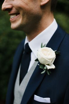 White Rose Buttonhole With Navy & Grey Suits | Chris Barber Photography
