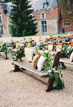 This French countryside ceremony has benches draped with garlands | Brides.com Wedding Ceremony Ideas, Woodsy Wedding, Ceremony Decorations, Outdoor Ceremony, Garden Wedding, Wedding Venues, Outdoor Seating, Wedding Blog, Trendy Wedding