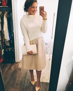 """1,067 Likes, 70 Comments - Courtney Toliver (@courtneytoliver) on Instagram: """"Ahh I'm so in love with this blush @hm skirt and this @anthropologie sweater together! I just got…"""""""