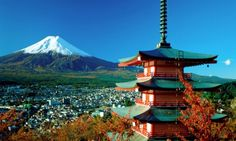 This is Mount Fuji, a very distinct mountain in Japan. I would love to visit the site and see the natural beauty of a lake near the mountain.