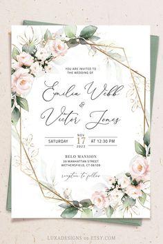 Blank Wedding Invitation Templates, Electronic Wedding Invitations, Free Wedding Invitations, Wedding Invitation Card Design, Wedding Card Design, Wedding Cards, Wedding Wording, Diy Wedding, Brush Strokes