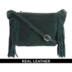 Bag by ASOS Collection Made from leather Soft suede finish Zip top fastening Heavy fringed trim Long across the body strap Zip pocket to the interior.