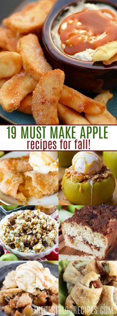 19 MUST MAKE APPLE RECIPES FOR FALL because there is nothing better than a homemade apple dessert that is baked fresh and served straight out of the oven. Your house will smell amazing and your friends and family will gather around to see what amazing dessert you're getting ready put out on your holiday table! via @bestblogrecipes
