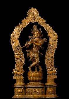 "Bronze Halebidu Style Krishna Statue 38"""