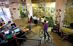 Indy Hall Mural I collaborated on featured in NYT | Solo Workers Bond at Shared Workspaces | NY Times