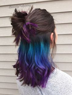 Green blue purple ombre under later hair dye #HairStyles