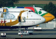 Air liners should consider adding a bit of creativity to their plane's appearance. The results could be very amusing and fun plane graphics. Cargo Aircraft, Boeing Aircraft, Passenger Aircraft, Commercial Plane, Commercial Aircraft, Thai Airways, Jumbo Jet, Aircraft Painting, Air Ride