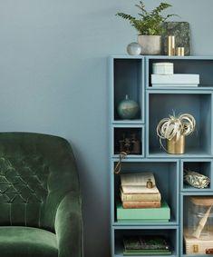 Fargepaletter for harmoniske rom Painted Bookshelves, Bookcase, Boudoir, Decoration, House Colors, Living Room, Wall, Furniture, Home Decor