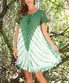 Sage Green Lace-Up Tie-Dye Swing Dress by Ananda's Collection #zulily #zulilyfinds