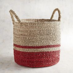 Harden Red & Natural Medium Round Basket