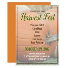 Customize Your Own Harvest Fest Pumpkin Invitation - Halloween happyhalloween festival party holiday