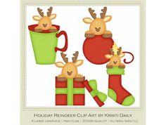 raindeer clip art | Holiday Reindeer Clip Art by Kristi Dailey