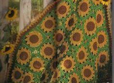 Free Crochet Pattern: Sassy Sunflower Afghan. Also Another Sunflower. http://www.allfreecrochet.com/Granny-Square-Afghans/Sunflower-Granny-Square