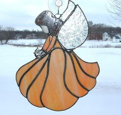 Light Orange and White Stained Glass Angel Guardian by GlassPizazz, $40.00