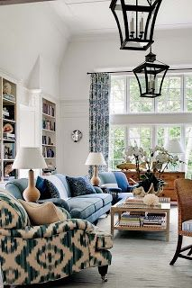 blue and white living room TROVE INTERIORS