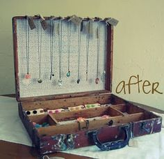 Old suitcase to organize jewelry