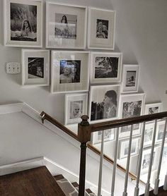 Staircase wall is often a cold corner overlooked by homeowners. But with a little creativity, your staircase wall can be transformed from an ignored area to an attractive focal point. The staircase wall is just like a blank canvas and you can displa Gallery Wall Staircase, Grand Staircase, Staircase Ideas, Picture Wall Staircase, Picture Frames On The Wall Stairs, Stair Gallery, Staircase Frames, Staircase Decoration, Stairway Photo Gallery