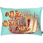 Vissen groot en klein met koraal ondergrond aqua Kussen langwerpig