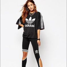 Rita Ora Adidas Trapeze leggings Super hip! Sold out!!! Look cool at the gym or running errands! Love!!! Adidas Pants Leggings