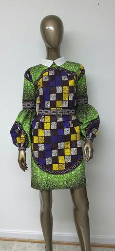 Imprimé africain doublé robe. Manches longues de par NanayahStudio