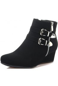 Dream Pairs New Women's GHILE Fashion Casual Double Buckle Straps Side Zipper Platform Wedge Heel Shoes Booties