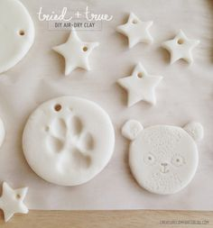 Tried   True: DIY Air-Dry Clay (cornstarch, b.soda & water) for shimmery gift tags or ornaments