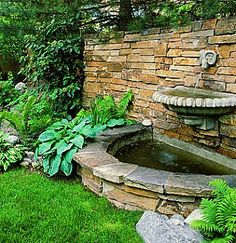 water fountain, landscap, water features, outdoor, wall fountains