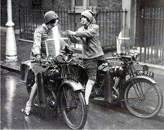 England. 1930's. Modern Women on Motorbikes.