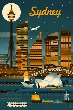 Sydney, Australia - Retro Skyline Giclee Gallery Print, Wall Decor Travel Poster) -- Discover this special product, click the image : Dining Entertaining Sydney Australia, Australia Travel, Victoria Australia, Pin Ups Vintage, Posters Australia, Tourism Poster, Poster Poster, Skyline Art, Vintage Travel Posters