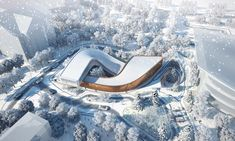Green-roofed 2022 Winter Olympic center echoes the surrounding ski slopes