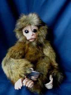 Baby snow monkey ( Japanese Macaque) doll bear sculpt realistic life size ooak. | eBay