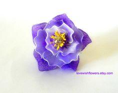 Purple dahlia flower brooch handmade by nylon fabric flower and leaves. handmade brooch, flower brooch,Jewelry. fabric accessory. crystal.