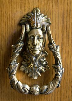 Brass Cast Metal Wood Door Hardware Woman Female Face Greeting Card featuring the photograph Ornate Door Knocker by Carl Purcell