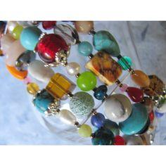 CHUNKY BEADED BRACELET, Multi Strand Colorful Beaded Bracelet,... ($36) ❤ liked on Polyvore featuring jewelry and bracelets
