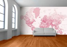 I'm on the top of the world looking down at creation... Custom Map Wall Murals by Wallpapered