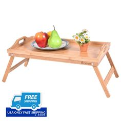 Portable Bamboo Breakfast Bed Tray Serving Laptop Table Folding Leg w/ Handle