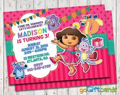 Dora party invitations printable free arins 3rd birthday dora invitation dora birthday dora the explorer by gogiftcards filmwisefo Images
