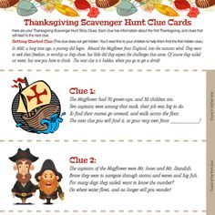 A Thanksgiving scavenger hunt for kids has indoor clues about the history of Thanksgiving. It will keep your children busy while the turkey bakes. Thanksgiving History, Thanksgiving Prayer, Thanksgiving Parties, Thanksgiving Decorations, Thanksgiving Celebration, Thanksgiving Activities, Thanksgiving Appetizers, Thanksgiving Outfit, Thanksgiving Recipes