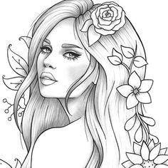 Printable coloring page girl portrait and clothes colouring sheet floral pdf adult anti-stress relaxing zentangle line art People Coloring Pages, Coloring Pages For Grown Ups, Free Adult Coloring Pages, Cute Coloring Pages, Printable Coloring Pages, Coloring Pages To Print, Colouring Sheets For Adults, Girl Face Drawing, Girl Drawing Sketches