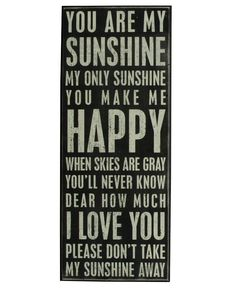 """""""You Are My Sunshine"""" Rustic Wall Decor Box Sign"""