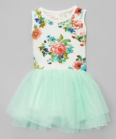 Look at this Mint & White Floral Tutu Tank Dress - Infant, Toddler & Girls on #zulily today!