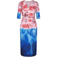 Damsel in a dress Cherry Bloom Dress, Print ($92) ❤ liked on Polyvore featuring dresses, deep v neck dress, floral maxi dress, blue floral dress, long-sleeve mini dress and maxi dresses